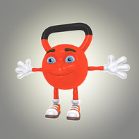 cartoon kettlebell obj