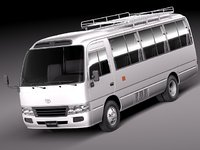 3d toyota coaster bus minibus model
