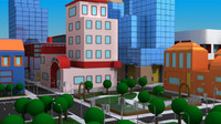 cartoon city scene 3d model
