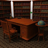 3d realistic executive furniture set model
