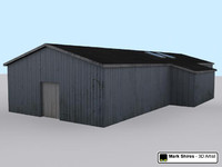 corrugate shed building 3d model
