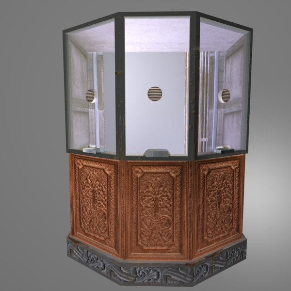 wooden ticket booth 3d obj - Victorian Ticket Booth... by Etwin