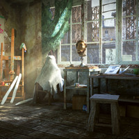 3d model art workshop - scene