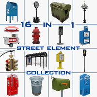 3d model city content hydrant dumpster