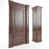 3d wooden panels walls columns