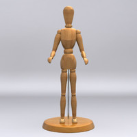 3d model wooden art mannequin