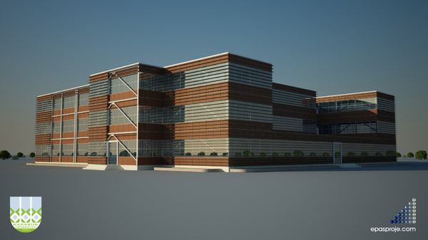 3d industrial building v2 model - Industrial Building V2... by bilopipet