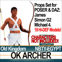 Props Set Poser Daz for Ancient Egyptian OK Archer