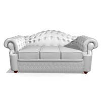 oxford 3 seater leather chair 3d model