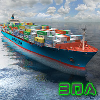 3ds max container ship cargo 3300teu