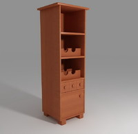 wine rack furniture 01 3d model