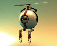 3d flying utility robot model
