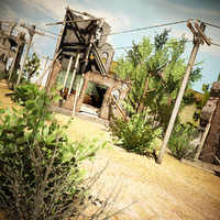 3d destroyed village environment model