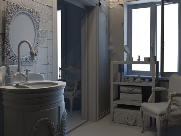 interior scenes bathroom 3d model - Scenes Interior Bathroom... by bendusm