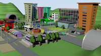 3ds max city cartoon cars