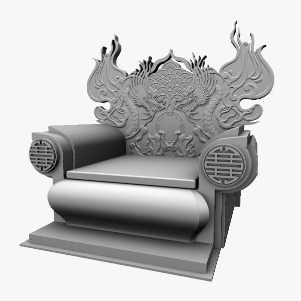 Maya chinese throne chair 1 for Chair 3d model maya
