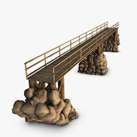 3d wooden bridge rocks