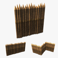 3d model wood stockade