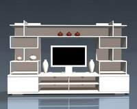 3d tv wall unit model