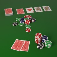 3d poker play cards fiches model