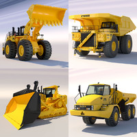 3d model articulated dump truck bulldozer