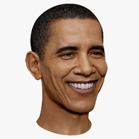 3d obj smiling barack obama portrait