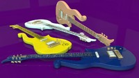 prince cloud guitars 3d model