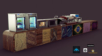 coffee shop itens 3d model