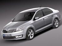 skoda rapid 2013 sedan 3d model