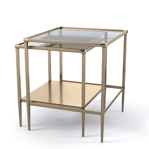 Bronze Nesting Coffee Tables: 3ds Baker 3662 Barbara