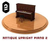 c4d antique upright piano 2