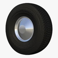 3d c4d rear trailer wheel