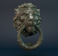 3d model door knocker lion