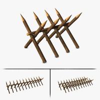 wooden barricade c4d