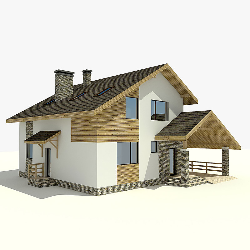 3d model house village mountains House 3d model
