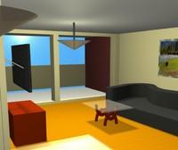 free living room apartment 3d model