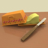 3d butter dish knife