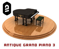 antique grand piano 3 c4d
