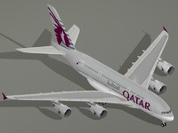 airbus a380-800 qatar airways 3d obj