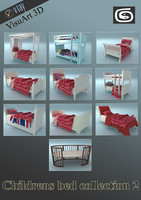 childrens beds 2 3d model