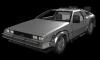 delorean future 3d model
