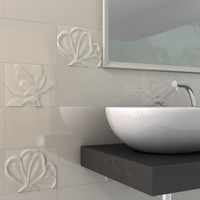 c4d decorated tiles bathroom