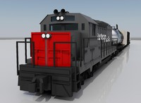 3d freight train engine