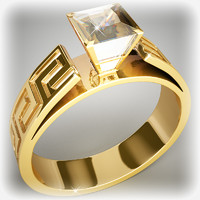 3d gold ring diamond model