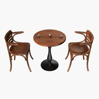 cafe chair table 3d obj