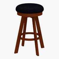 classic wood stool 3d 3ds
