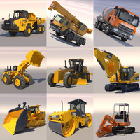 3d 3ds public works machines excavator