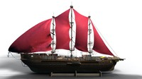 3d model ship sailing old