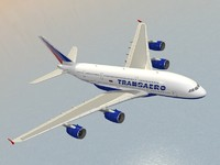 airbus a380-800 transaero airlines 3d model