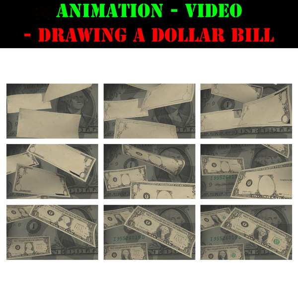 3d video animation drawing dollar bill model - drawing of US Dollars... by KUCO